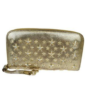 Jimmy Choo Leather Long Wallet (bi-fold) Gold